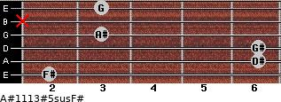 A#11/13#5sus/F# for guitar on frets 2, 6, 6, 3, x, 3