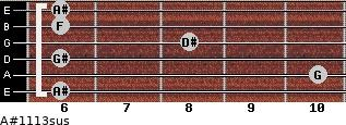A#11/13sus for guitar on frets 6, 10, 6, 8, 6, 6