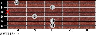 A#11/13sus for guitar on frets 6, 6, 5, x, 6, 4
