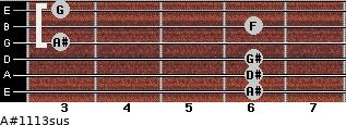 A#11/13sus for guitar on frets 6, 6, 6, 3, 6, 3