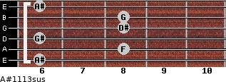 A#11/13sus for guitar on frets 6, 8, 6, 8, 8, 6