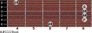 A#11/13sus for guitar on frets 6, 8, 8, 8, 8, 4