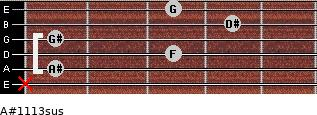 A#11/13sus for guitar on frets x, 1, 3, 1, 4, 3