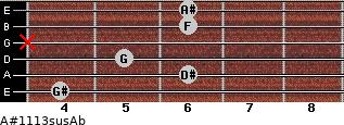 A#11/13sus/Ab for guitar on frets 4, 6, 5, x, 6, 6