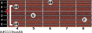A#11/13sus/Ab for guitar on frets 4, 8, 5, x, 4, 6