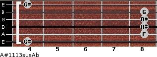 A#11/13sus/Ab for guitar on frets 4, 8, 8, 8, 8, 4