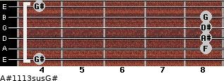 A#11/13sus/G# for guitar on frets 4, 8, 8, 8, 8, 4