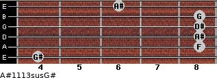 A#11/13sus/G# for guitar on frets 4, 8, 8, 8, 8, 6