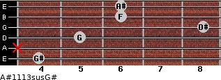 A#11/13sus/G# for guitar on frets 4, x, 5, 8, 6, 6