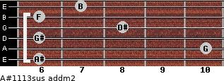 A#11/13sus add(m2) for guitar on frets 6, 10, 6, 8, 6, 7