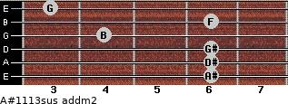 A#11/13sus add(m2) for guitar on frets 6, 6, 6, 4, 6, 3