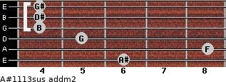 A#11/13sus add(m2) for guitar on frets 6, 8, 5, 4, 4, 4