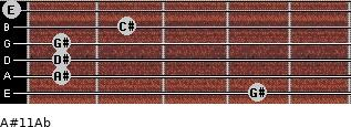 A#º11/Ab for guitar on frets 4, 1, 1, 1, 2, 0