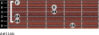 A#11/Ab for guitar on frets 4, 1, 1, 3, 3, 1