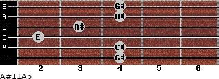 A#º11/Ab for guitar on frets 4, 4, 2, 3, 4, 4
