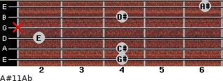 A#º11/Ab for guitar on frets 4, 4, 2, x, 4, 6
