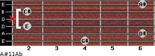 A#º11/Ab for guitar on frets 4, 6, 2, x, 2, 6