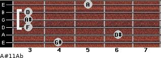 A#11\Ab for guitar on frets 4, 6, 3, 3, 3, 5