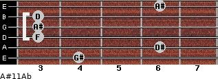 A#11/Ab for guitar on frets 4, 6, 3, 3, 3, 6