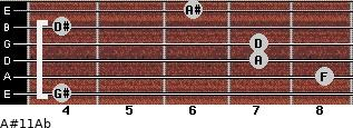 A#11\Ab for guitar on frets 4, 8, 7, 7, 4, 6