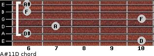 A#11\D for guitar on frets 10, 6, 7, 10, 6, 6