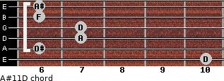 A#11\D for guitar on frets 10, 6, 7, 7, 6, 6