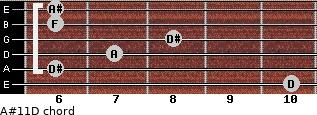 A#11\D for guitar on frets 10, 6, 7, 8, 6, 6