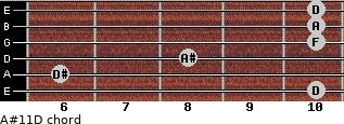 A#11\D for guitar on frets 10, 6, 8, 10, 10, 10