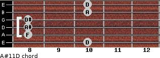 A#11\D for guitar on frets 10, 8, 8, 8, 10, 10