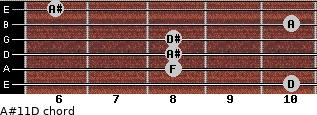 A#11\D for guitar on frets 10, 8, 8, 8, 10, 6