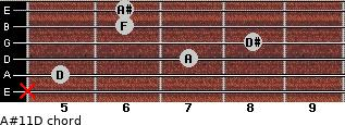 A#11\D for guitar on frets x, 5, 7, 8, 6, 6