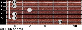 A#11/Db add(m3) guitar chord