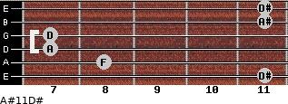 A#11\D# for guitar on frets 11, 8, 7, 7, 11, 11