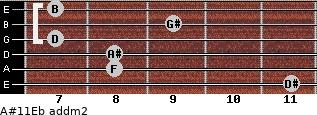 A#11/Eb add(m2) guitar chord