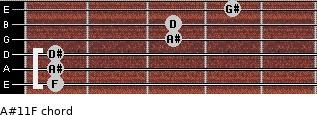 A#11/F for guitar on frets 1, 1, 1, 3, 3, 4