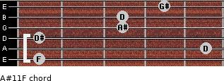 A#11/F for guitar on frets 1, 5, 1, 3, 3, 4