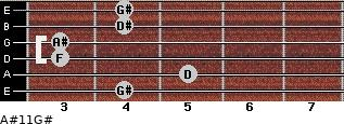 A#11/G# for guitar on frets 4, 5, 3, 3, 4, 4