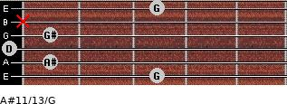 A#11/13/G for guitar on frets 3, 1, 0, 1, x, 3