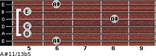 A#11/13b5 for guitar on frets 6, 5, 5, 8, 5, 6