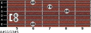 A#11/13#5 for guitar on frets 6, 5, 5, 8, 7, 6