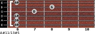 A#11/13#5 for guitar on frets 6, 6, 6, 7, 8, 6