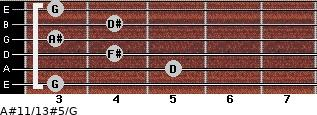 A#11/13#5/G for guitar on frets 3, 5, 4, 3, 4, 3
