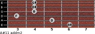 A#11 add(m2) for guitar on frets 6, 5, 3, 4, 4, 4