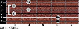 A#11 add(m2) for guitar on frets 6, 6, 3, 4, 3, 4