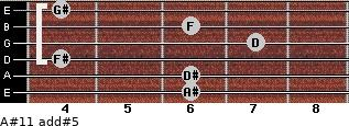 A#11 add(#5) for guitar on frets 6, 6, 4, 7, 6, 4