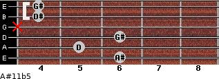 A#11b5 for guitar on frets 6, 5, 6, x, 4, 4