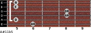 A#11b5 for guitar on frets 6, 5, 8, 8, 5, 5