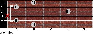 A#11b5 for guitar on frets 6, 5, x, 8, 5, 6