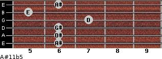 A#11b5 for guitar on frets 6, 6, 6, 7, 5, 6