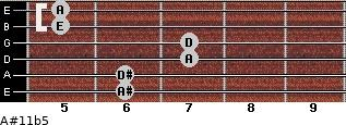 A#11b5 for guitar on frets 6, 6, 7, 7, 5, 5